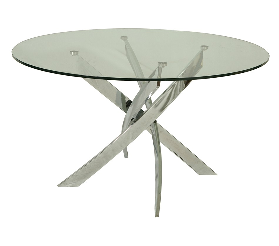 Fahrenheit dining table with 51 round glass top Round glass dining table
