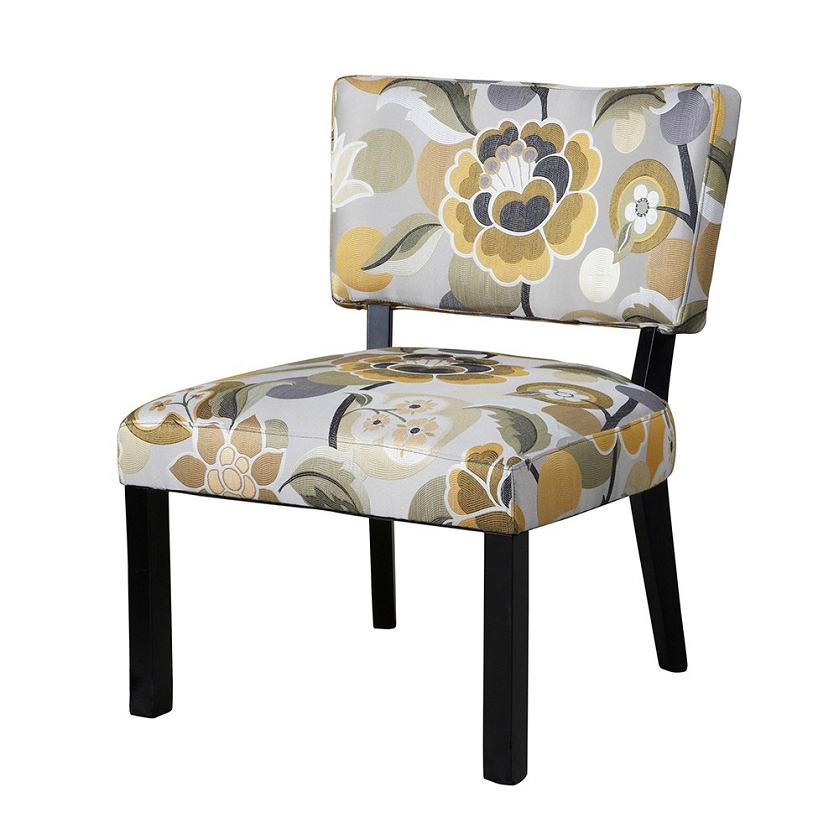 383 631 Yellow Gray Floral Accent Chair