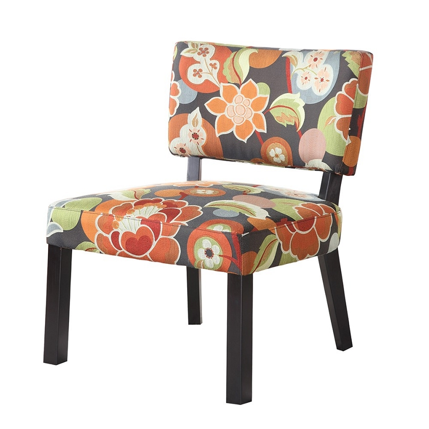 DreamFurniture.com - 383-936 Bright Floral Print Accent Chair