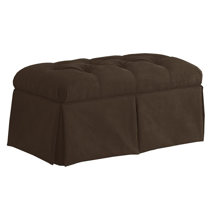 Skirted storage bench in velvet chocolate Velvet storage bench