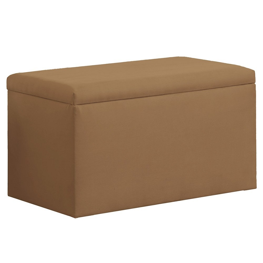 upholstered storage bench in micro suede khaki