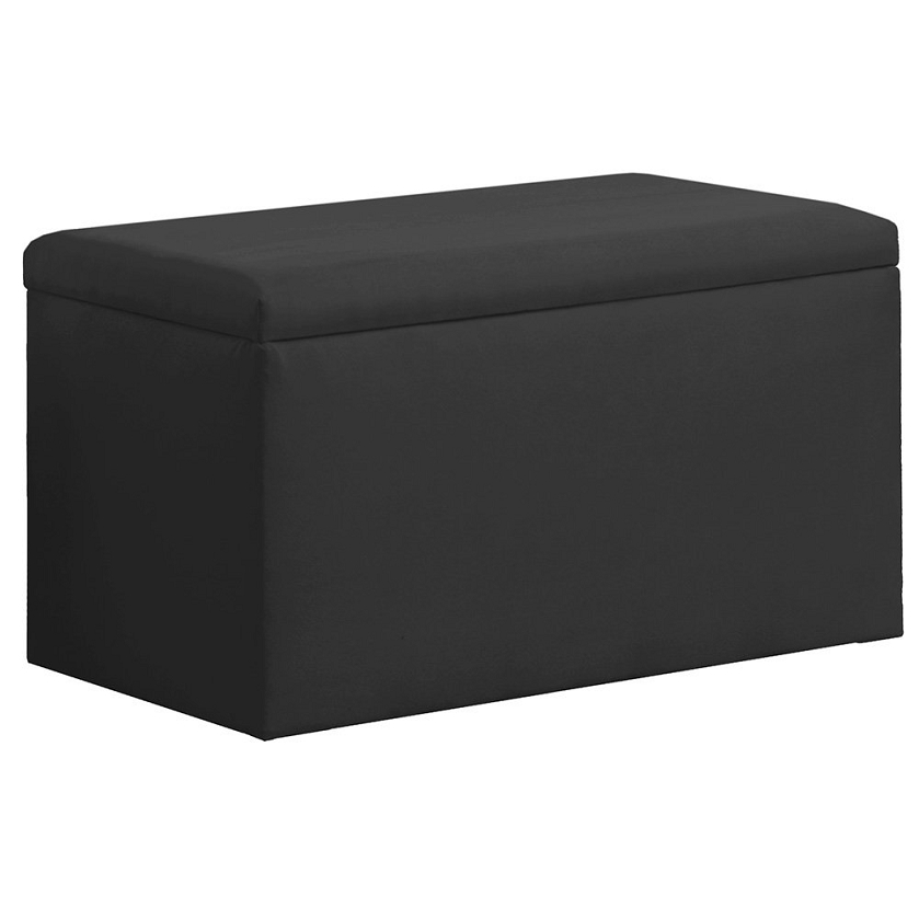 Upholstered Storage Bench In Micro Suede Black