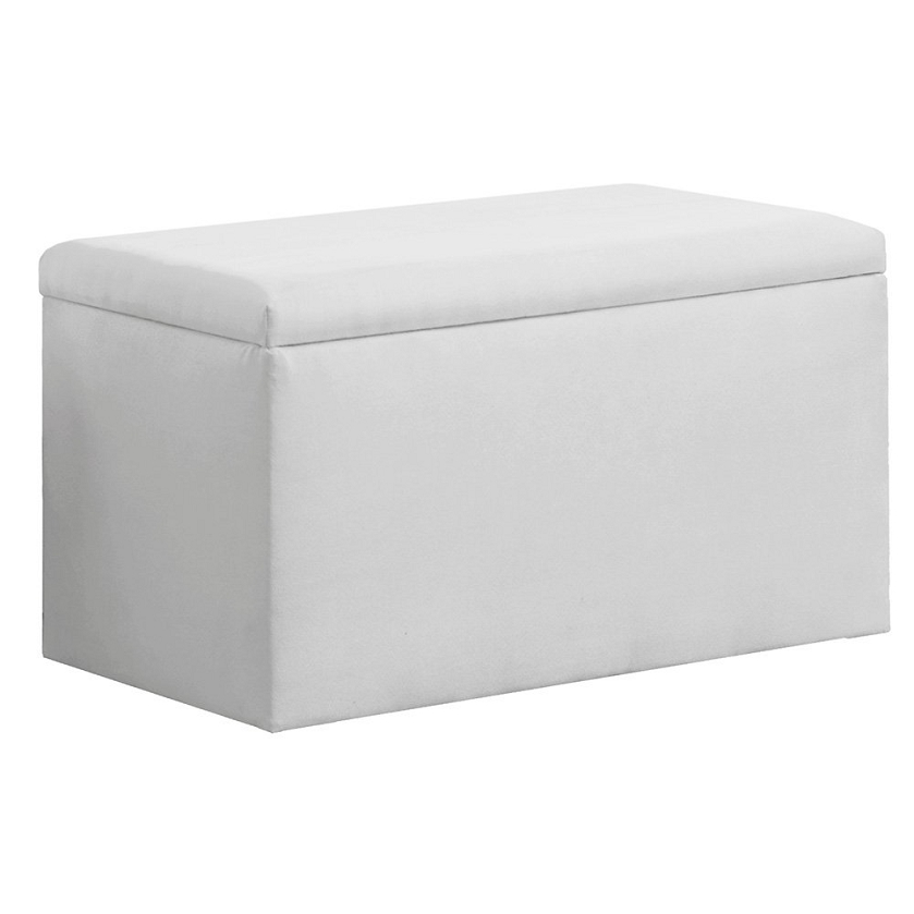 Upholstered storage bench in micro suede white White upholstered bench