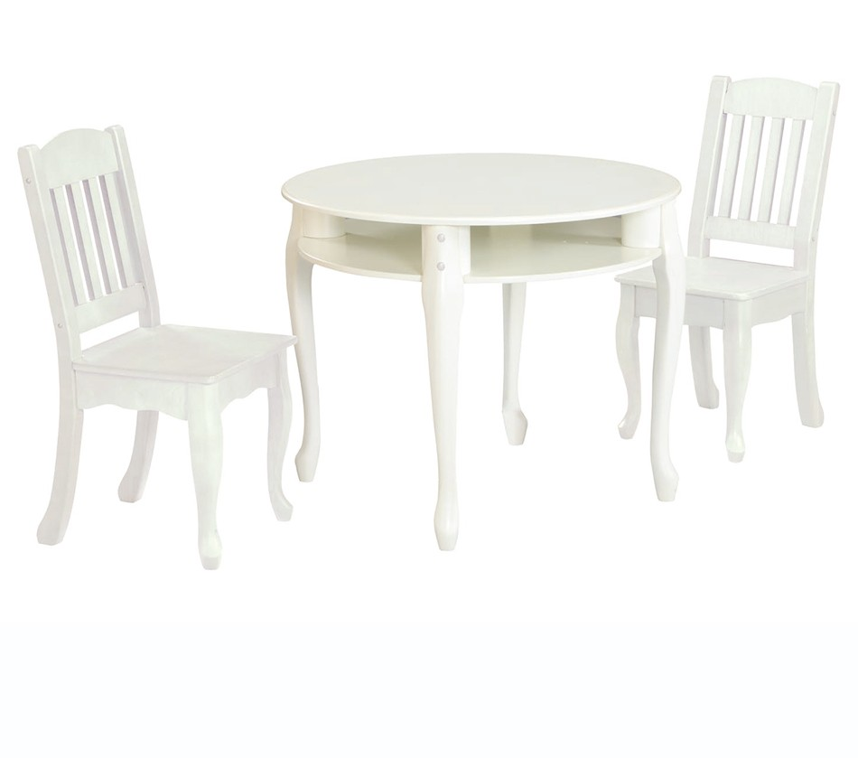 tables chairs teamson kids white round table and set of 2 chairs