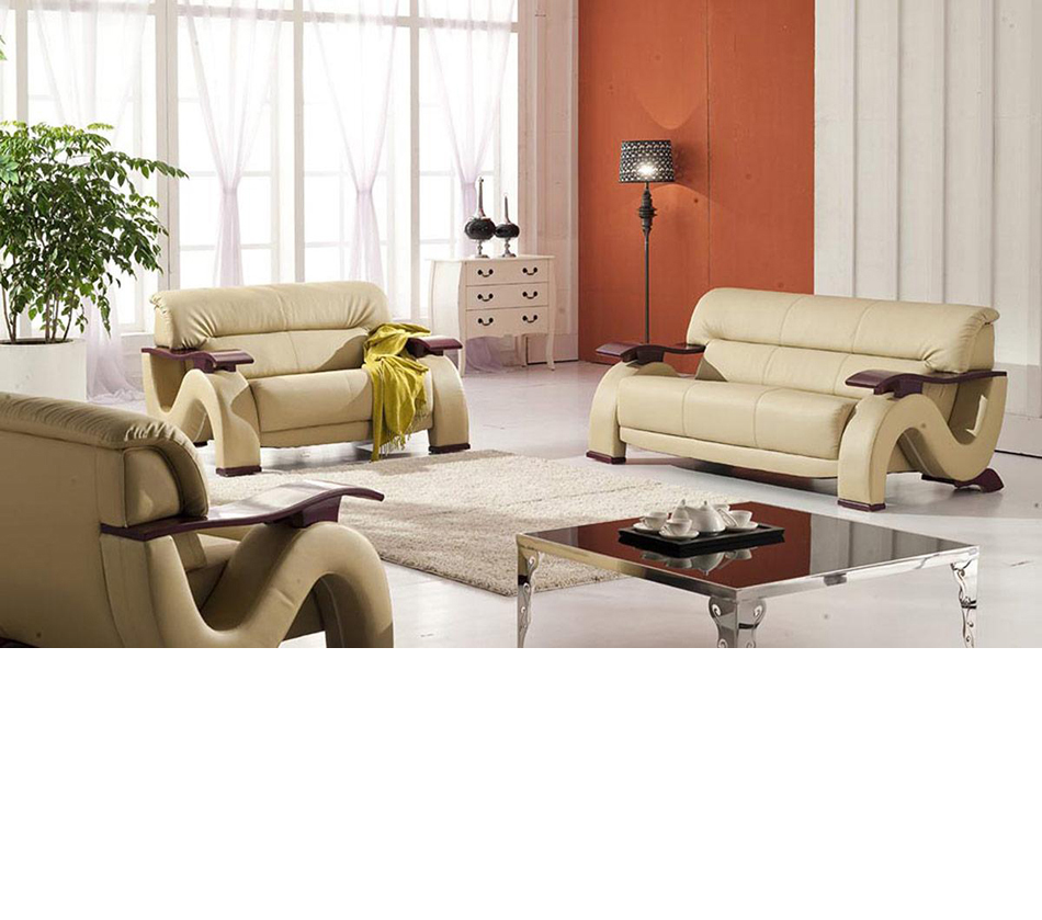 DreamFurniture 2033 Beige Modern Bonded Leather
