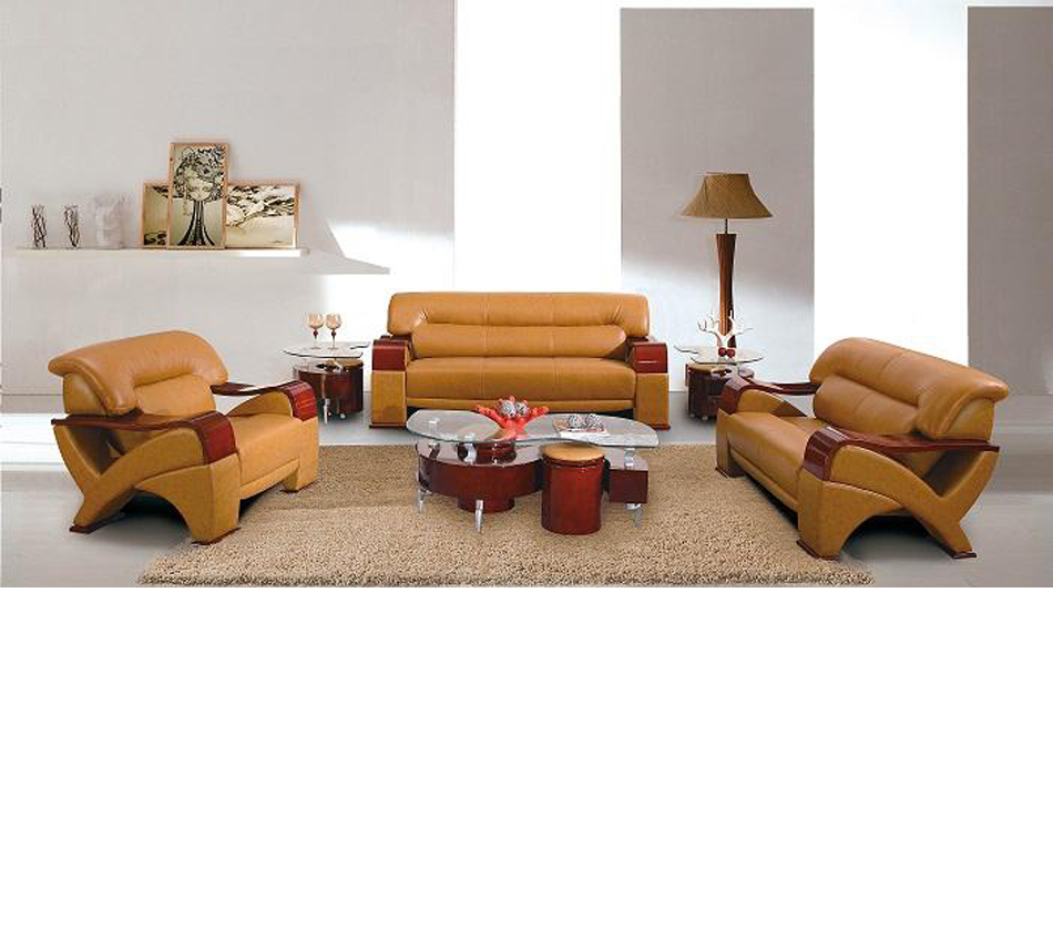 2034 modern camel leather living room set for Modern living room furniture sets