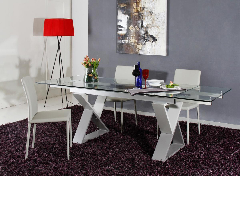 room furniture dining tables 2361xt modern grey metal frame