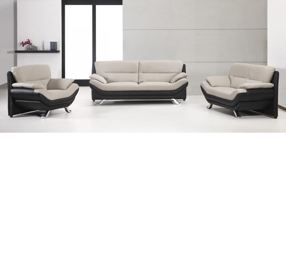 2927 bonded leather black and grey for Black and grey sofa set