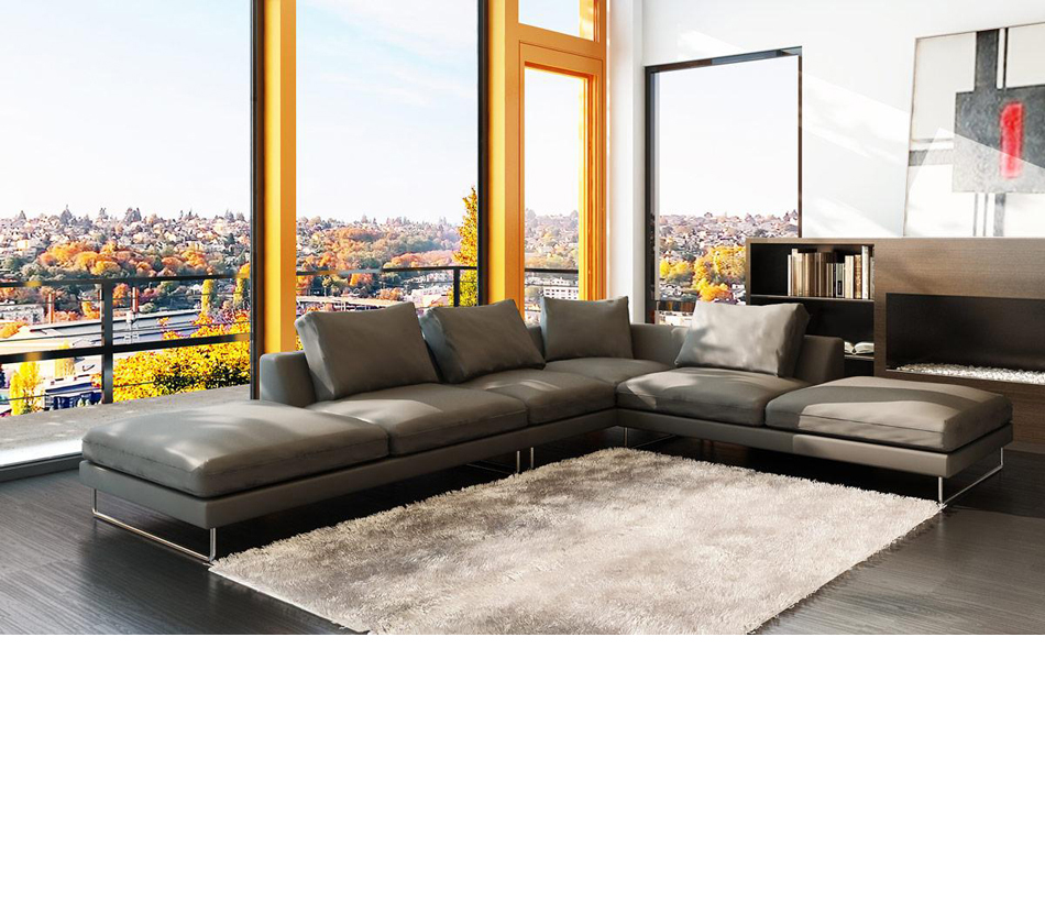 5051 modern bonded leather grey sectional sofa Modern sofa grey
