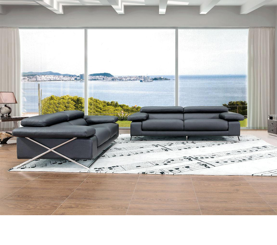 513 - Modern Italian Leather Sofa Set