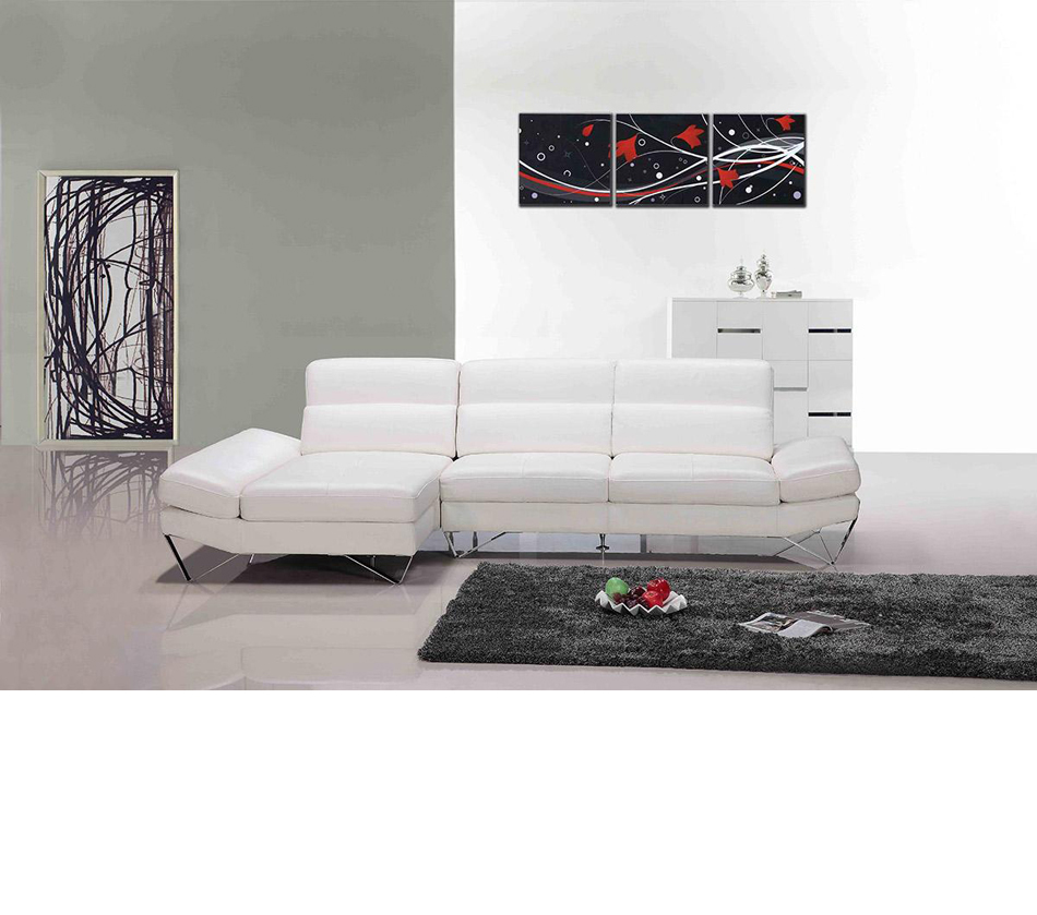 833 Modern White Full Leather Sectional Sofa