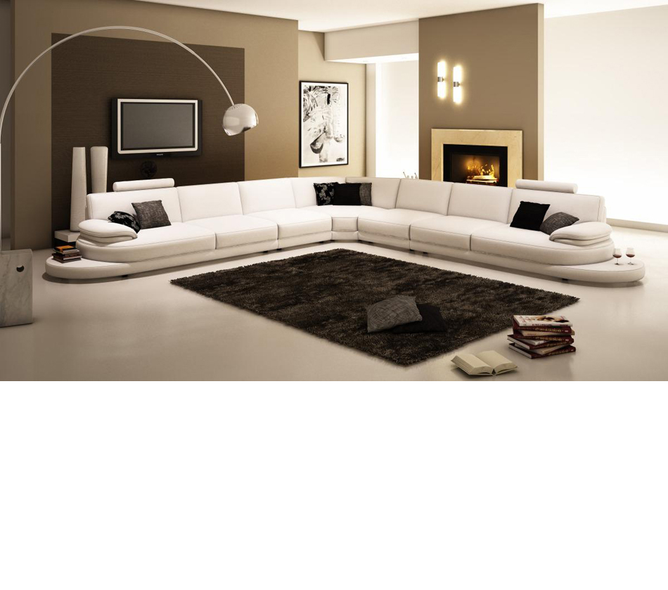 954 - Contemporary Italian Leather Sectional Sofa