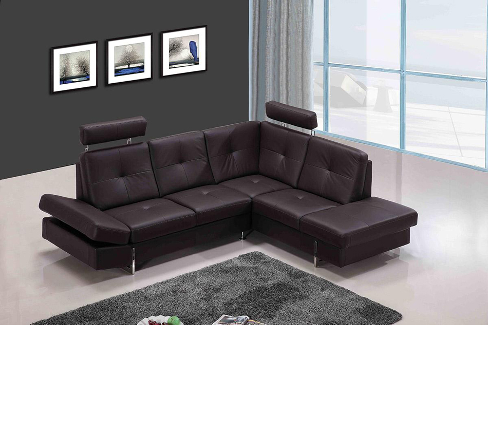 973 modern brown leather sectional sofa for Modern sectional sofas