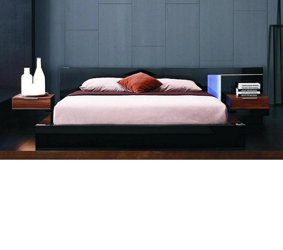 alaska night modern black lacquer bed