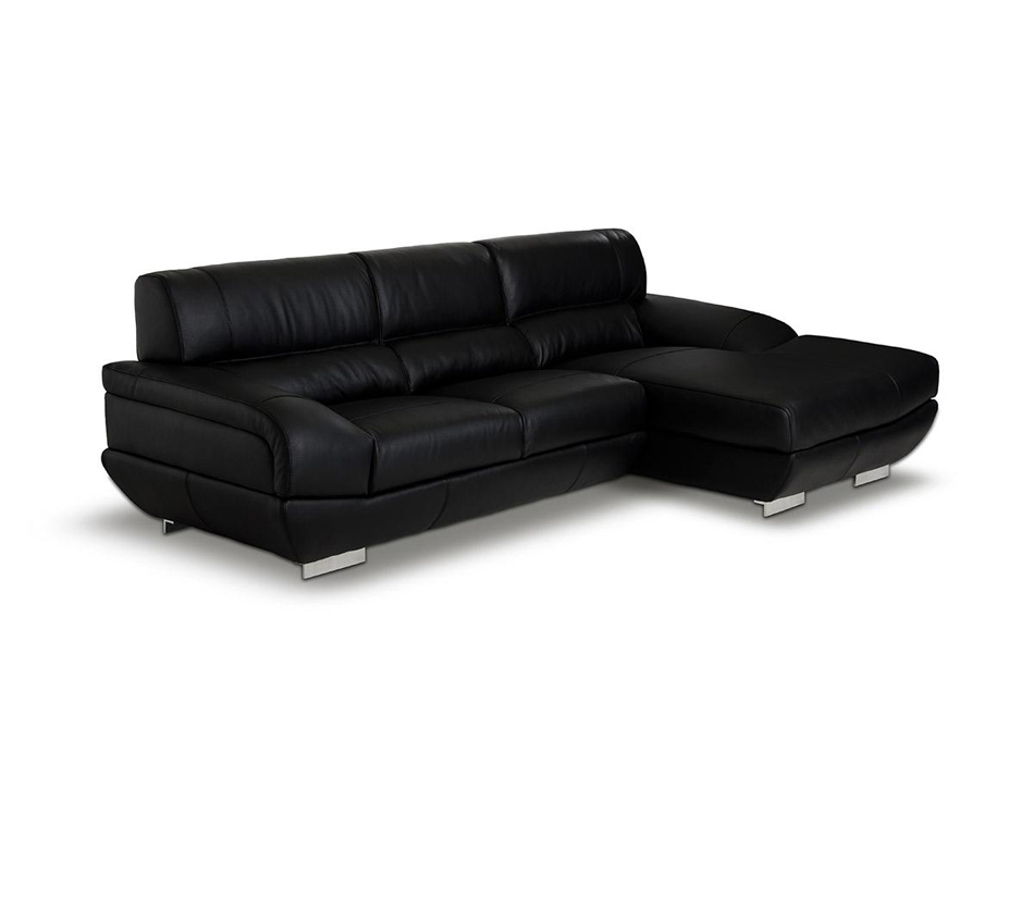 Alfred modern black leather for Leather sectional sofa