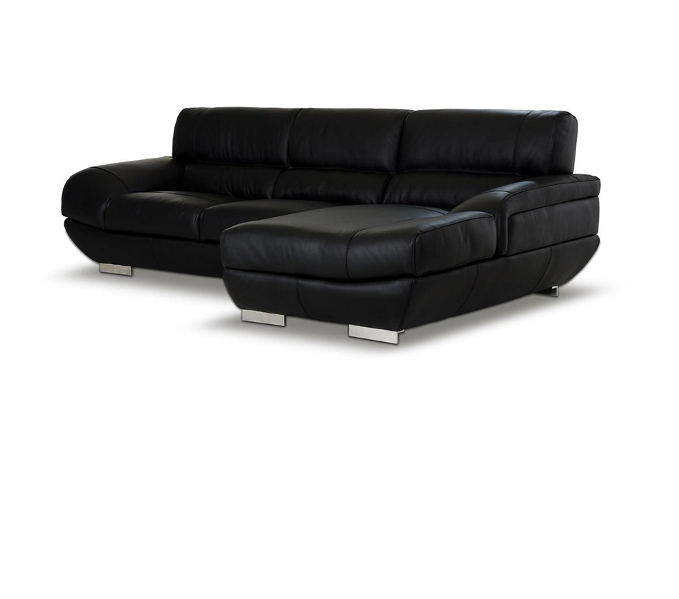 Alfred modern black leather for Modern sectional sofas