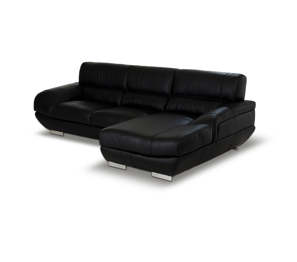 Alfred Modern Black Leather Sectional Sofa