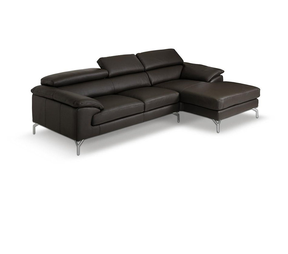 Amafi modern leather grey sectional for Modern sectional sofas