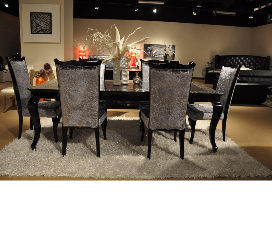 Exceptional DreamFurniture.com   Skyline   Modern Black Crocodile Lacquer Dining Table