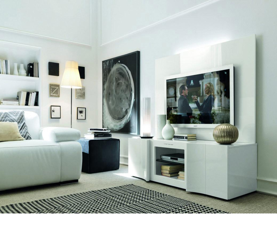 Armonia modern white entertainment for Living room entertainment centers