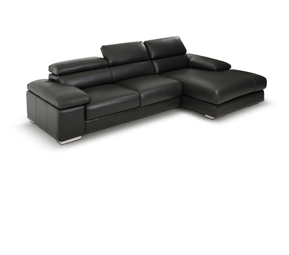 Aston modern leather grey sectional for Modern leather furniture