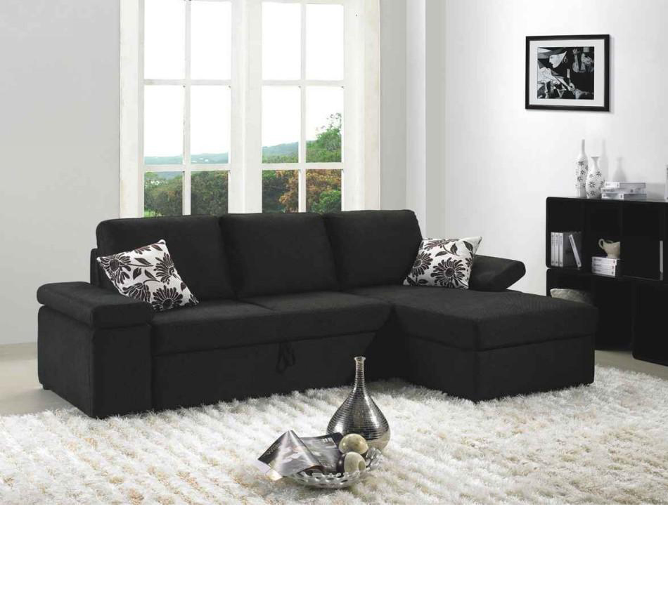 Dreamfurniture Com Avalon Black Fabric Sectional Sofa