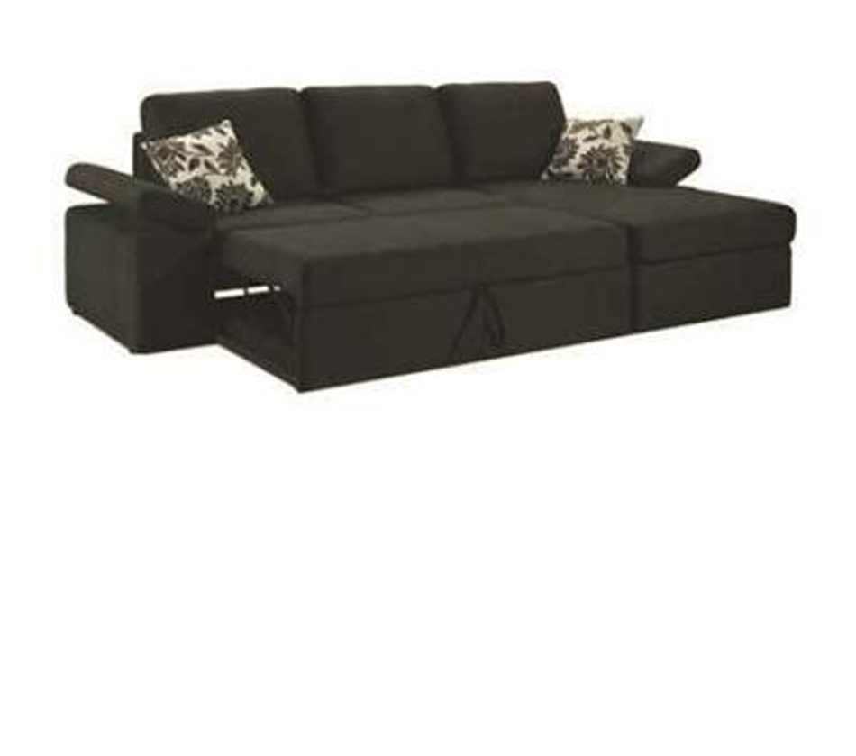 Avalon black fabric sectional sofa for Black fabric couches