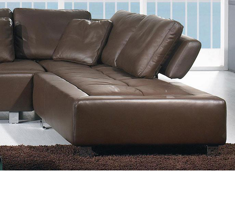 Dreamfurniture Com Bo 3878 Contemporary Brown Leather