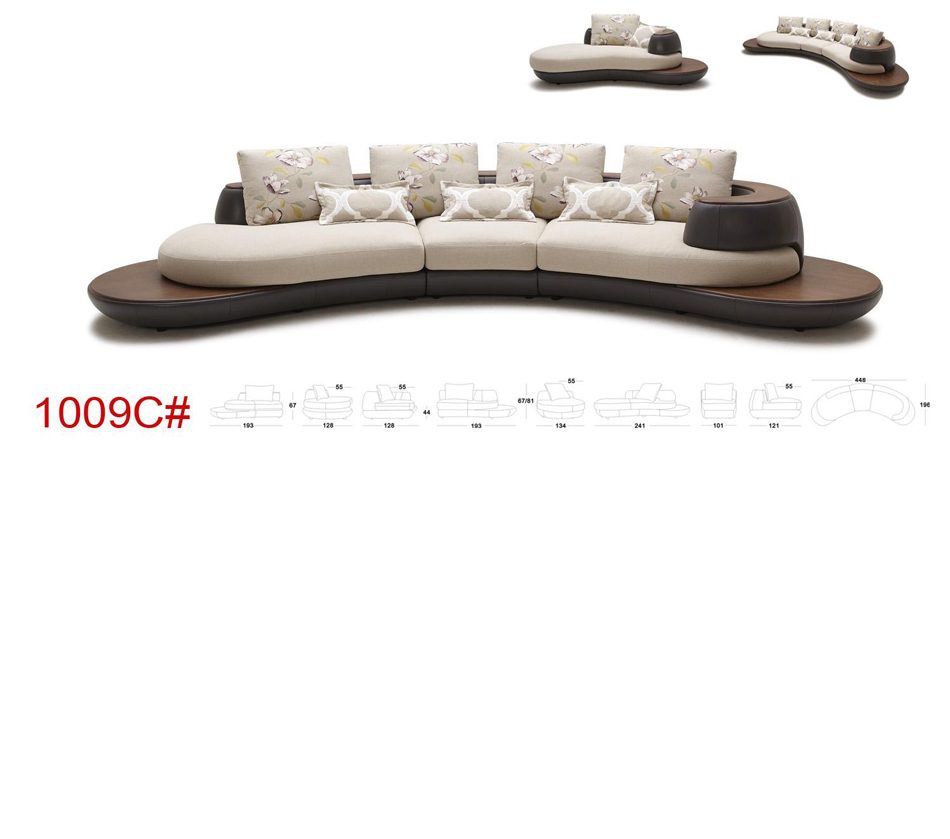 Beige and Brown Leather/Fabric Sectional Sofa with Chaise