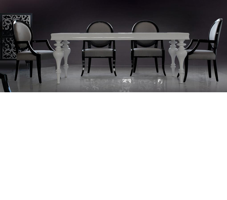 Bella white lacquer dining table for White lacquer dining table
