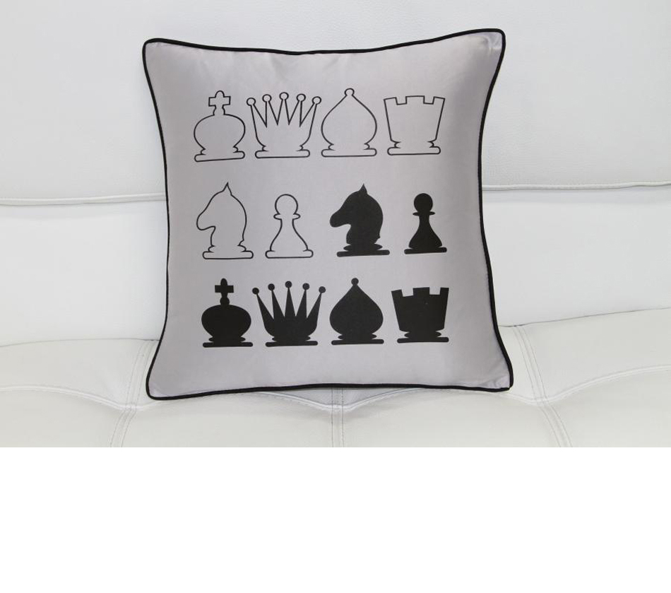 Dreamfurniture Com Black And Gray Chess Throw Pillow