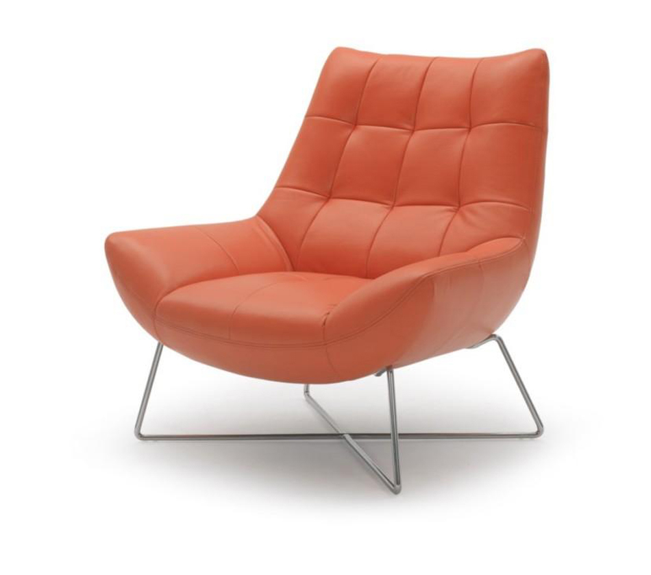 ... & Daybeds > Divani Casa A728 - Modern Orange Leather Lounge Chair
