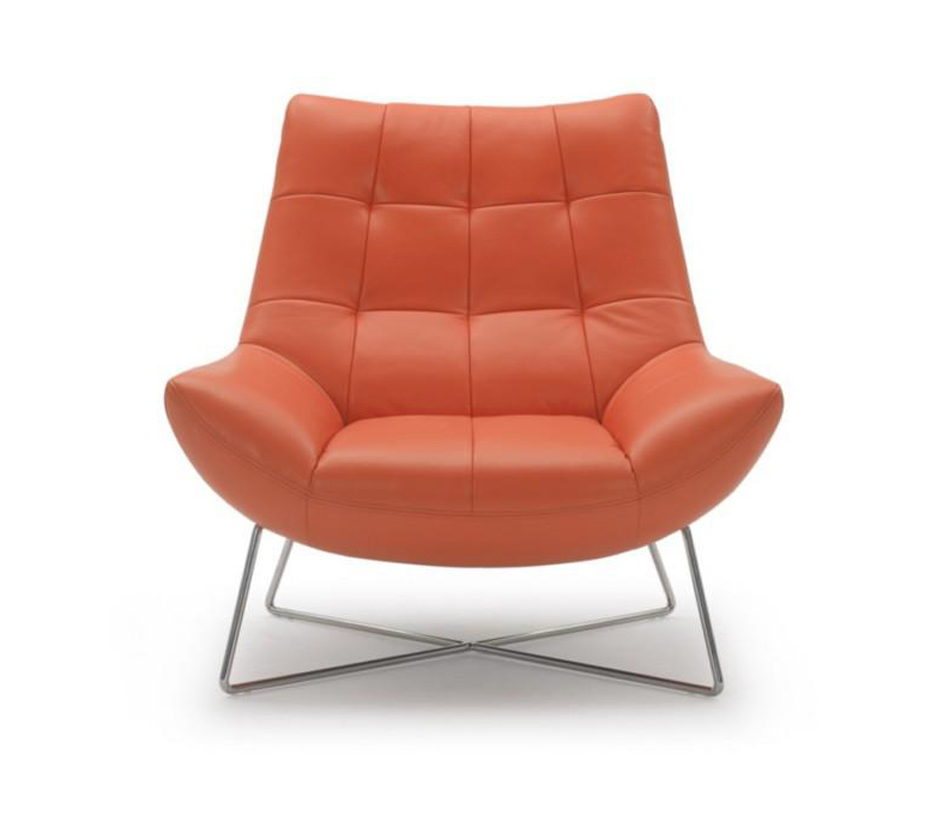 Divani casa a728 modern orange for Modern leather club chair