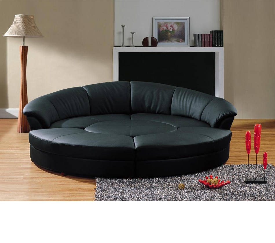 Divani casa circle modern bonded for Contemporary leather furniture