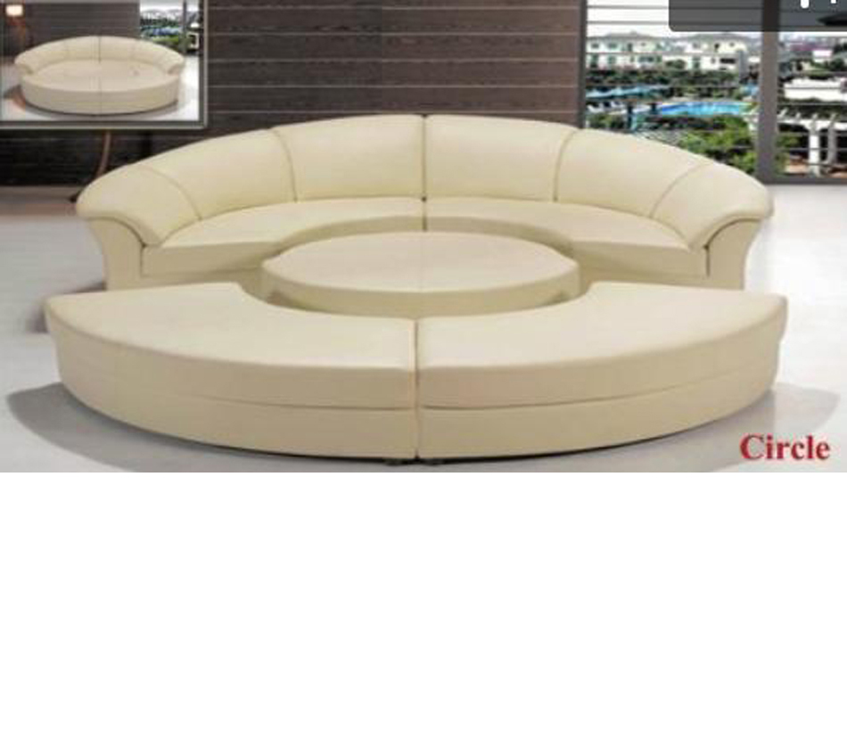 Divani casa circle modern leather circular sectional 5 piece sofa set Circular couches living room furniture