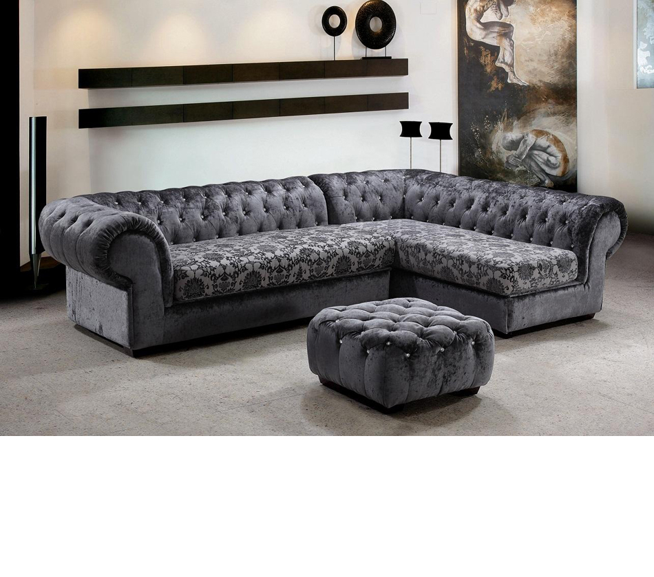 Divani Casa Metropolitan   Modern Fabric Sofa Set With Tufted Acrylic  Crystals