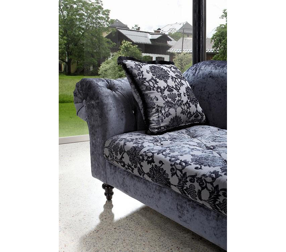 divani casa metropolitan transitional fabric chaise with tufted acrylic. Black Bedroom Furniture Sets. Home Design Ideas