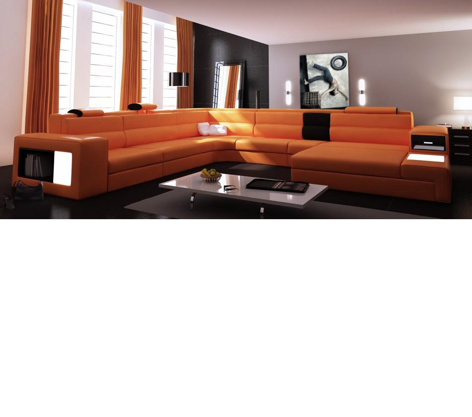 DreamFurniture.com   Divani Casa Polaris   Contemporary Leather Sectional Sofa  With Lights
