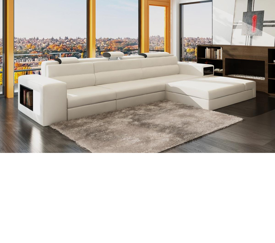 Divani Casa Polaris Mini   Contemporary Bonded Leather Sectional Sofa