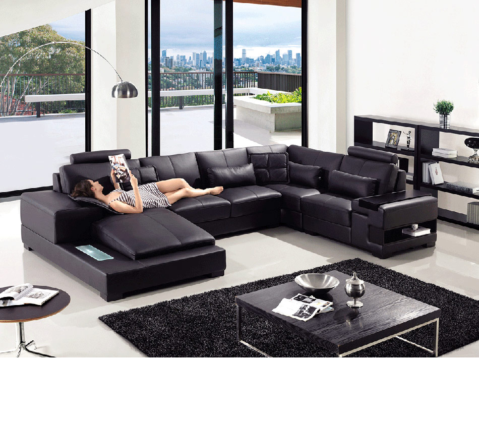 Awe Inspiring Divani Casa T285 Modern Leather Sectional Sofa Forskolin Free Trial Chair Design Images Forskolin Free Trialorg