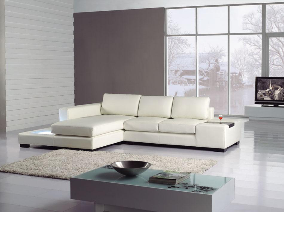 Divani Casa T35 Mini   Leather Sectional Sofa With Light