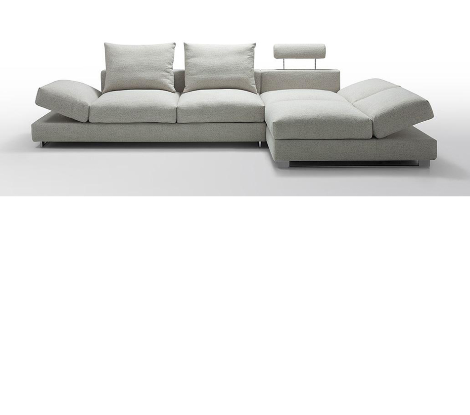 Divani Casa Vasto Modern Fabric Sectional Sofa With Down Feather Cushioning