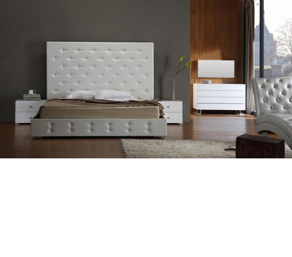 Bedroom Furniture > Beds > Elbrus  White Modern Leather Platform Bed 950 x 839