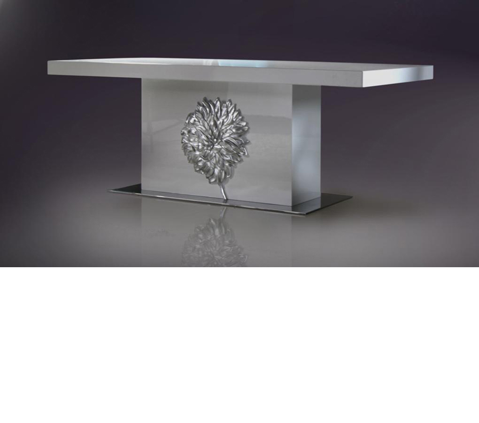 Emma white lacquer modern dining table for White lacquer dining table