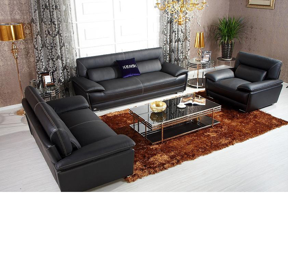 K8432 Black Italian Leather Sofa Set