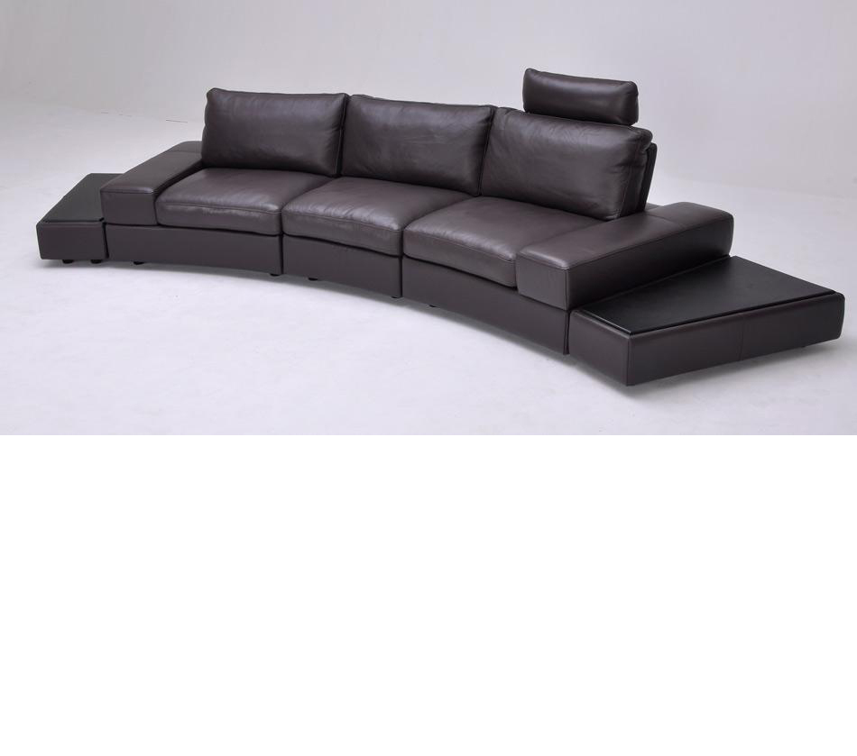 - DreamFurniture.com - Lilac Espresso Full Grain Leather Sectional