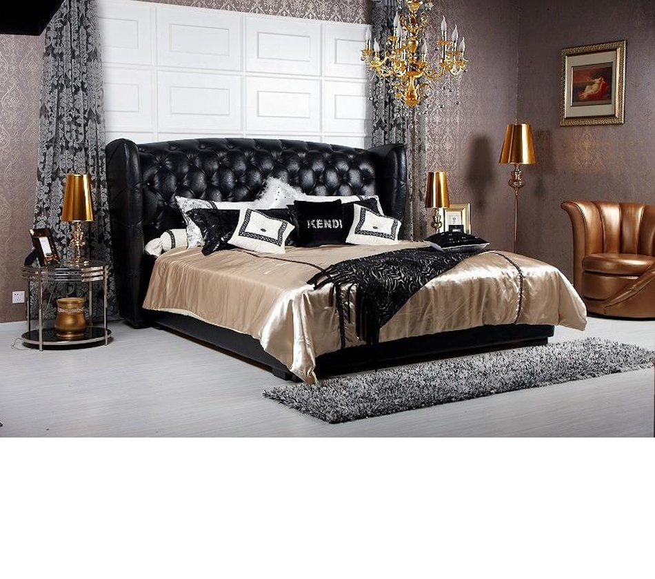 Majestic transitional black eco leather bed for Transitional bedroom furniture