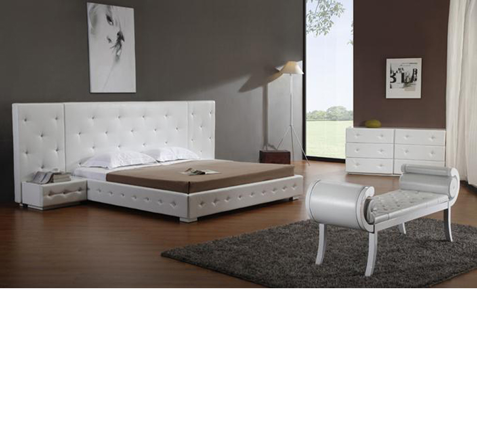 Leather Platform Bed : ... Bedroom Furniture > Beds > Melody - White Modern Leather Platform Bed
