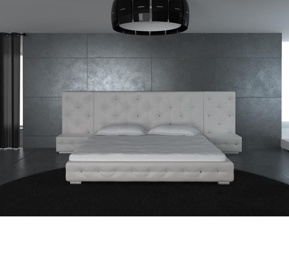 melody white modern leather platform bed with two nightstands
