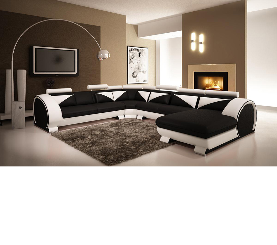 Modern Black and White Leather Sectional Sofa with Headrests p